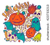 card for halloween with ghost ... | Shutterstock . vector #423733213