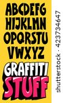 font graffiti style. cartoon... | Shutterstock .eps vector #423734647