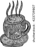 doodle  hot coffee   Shutterstock .eps vector #423739807