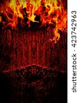 creepy dark background with... | Shutterstock . vector #423742963