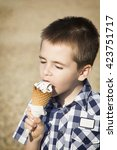 cute little boy eating ice cream | Shutterstock . vector #423751717