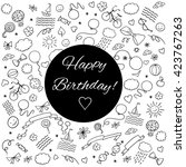 happy birthday greeting card.... | Shutterstock .eps vector #423767263