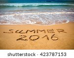 Inscription On Wet Sand Summer...