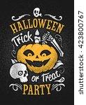 hand drawn vector halloween... | Shutterstock .eps vector #423800767
