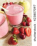 banana and strawberry smoothie.  | Shutterstock . vector #423807097