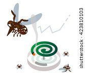mosquito repellent coil and... | Shutterstock .eps vector #423810103