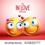 smiley face couple or lovers... | Shutterstock .eps vector #423820777