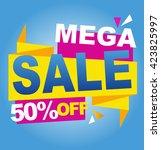 mega sale color banner. vector... | Shutterstock .eps vector #423825997