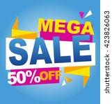 mega sale color banner. vector... | Shutterstock .eps vector #423826063