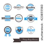 set of nine blue vintage labels.... | Shutterstock .eps vector #423855583