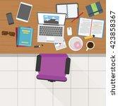 top view of writer working desk ... | Shutterstock .eps vector #423858367