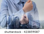 multiple exposure retouch with... | Shutterstock . vector #423859087