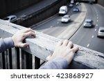 depressed young man... | Shutterstock . vector #423868927