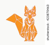 Fox. Geometric Fox On A White...