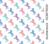 seamless pattern with unicorn... | Shutterstock .eps vector #423874033