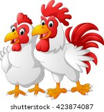 illustration of hen and rooster | Shutterstock .eps vector #423874087