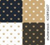 set seamless pattern in retro... | Shutterstock . vector #423891637
