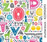 colorful alphabet seamless... | Shutterstock .eps vector #423904393