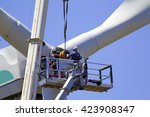 wind turbine being repaired ... | Shutterstock . vector #423908347