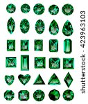 set of realistic green jewels....
