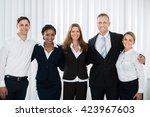 group of happy businesspeople...   Shutterstock . vector #423967603
