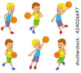 boy playing basketball set ... | Shutterstock .eps vector #424026697