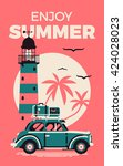 enjoy summer beautiful vector... | Shutterstock .eps vector #424028023