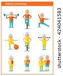 elderly man doing exercises.... | Shutterstock .eps vector #424041583