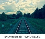 train track in vintage colors   Shutterstock . vector #424048153