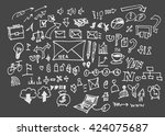 hand drawn business icons set.... | Shutterstock .eps vector #424075687