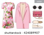 lady fashion set of spring ... | Shutterstock .eps vector #424089907