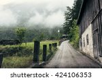 alpine mountain village in a... | Shutterstock . vector #424106353
