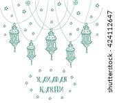 greeting card template design... | Shutterstock .eps vector #424112647