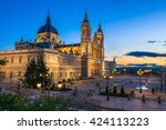 sunset view of madrid cathedral ... | Shutterstock . vector #424113223