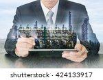 double exposure of businessman... | Shutterstock . vector #424133917
