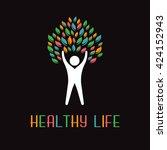 healthy life logo. vector... | Shutterstock .eps vector #424152943