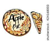 apple pie. hand drawn vector... | Shutterstock .eps vector #424168003