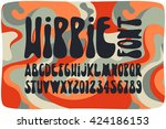 smooth hippie font with wavy... | Shutterstock .eps vector #424186153