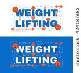 weight lifting lettering flat... | Shutterstock .eps vector #424187683