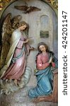 Small photo of ZAGREB, CROATIA - SEPTEMBER 14: Annunciation of the Virgin Mary, altarpiece in the Basilica of the Sacred Heart of Jesus in Zagreb, Croatia on September 14, 2015
