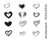 charcoal heart set on white...   Shutterstock .eps vector #424215523