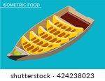 isometric sushi set. japanese... | Shutterstock .eps vector #424238023