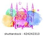 mosque at night. ramadan kareem ... | Shutterstock .eps vector #424242313