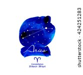vector zodiac constellations... | Shutterstock .eps vector #424251283
