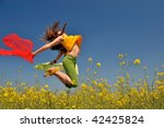 beautiful young woman jumping... | Shutterstock . vector #42425824