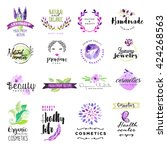 Set of hand drawn watercolor signs for beauty and cosmetics. Vector illustrations for graphic and web design, for natural and organic products, healthy life, beauty care. | Shutterstock vector #424268563