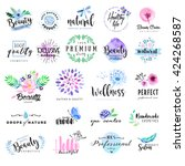 Set of hand drawn watercolor labels and badges for beauty, healthy life and wellness. Vector illustrations for graphic and web design, for cosmetics, natural products, spa, beauty center. | Shutterstock vector #424268587