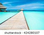 beautiful tropical maldives... | Shutterstock . vector #424280107