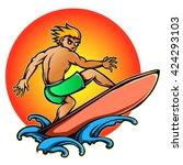 vector illustration of surfer... | Shutterstock .eps vector #424293103