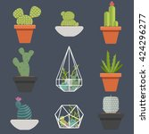 set of succulent plants and... | Shutterstock .eps vector #424296277